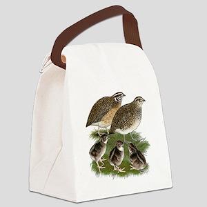 Coturnix Quail Family Canvas Lunch Bag