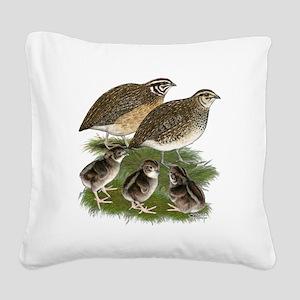 Coturnix Quail Family Square Canvas Pillow