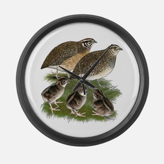 Coturnix Quail Family Large Wall Clock