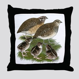Coturnix Quail Family Throw Pillow