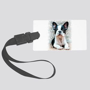 french bulldog Large Luggage Tag