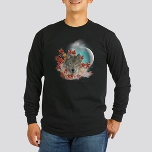 Wolf Harvest Moon Long Sleeve Dark T-Shirt