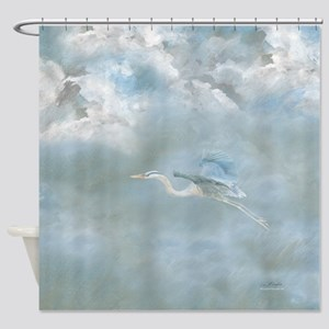 Great Blue Heron amongst the clouds Shower Curtain