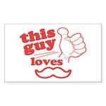 Guy Loves Mustache Sticker (Rectangle 10 pk)