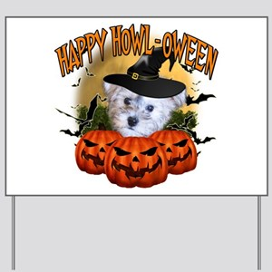 Happy Halloween Schnoodle Yard Sign