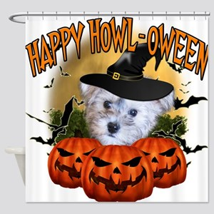 Happy Halloween Schnoodle.png Shower Curtain