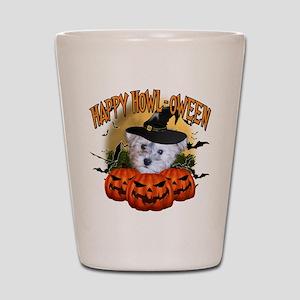 Happy Halloween Schnoodle Shot Glass
