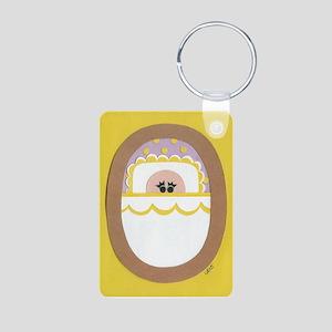 Yellow Polka-Dot Baby Aluminum Photo Keychain