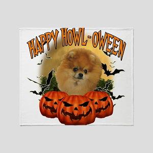 Happy Halloween Pomeranian Throw Blanket
