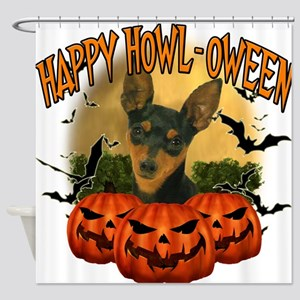 Happy Halloween Min Pin.png Shower Curtain
