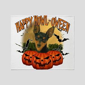 Happy Halloween Min Pin Throw Blanket