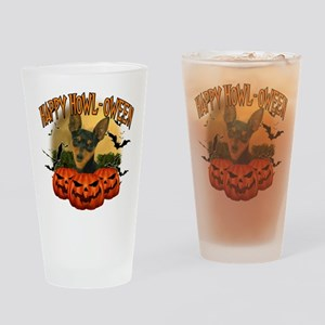 Happy Halloween Min Pin Drinking Glass