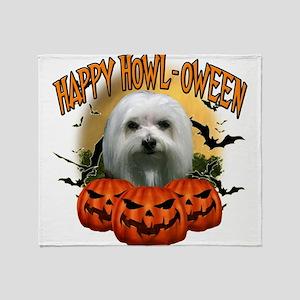 Happy Halloween Maltese Throw Blanket