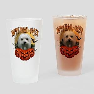 Happy Halloween Maltese Drinking Glass