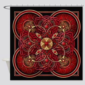 Red Celtic Tapestry Shower Curtain