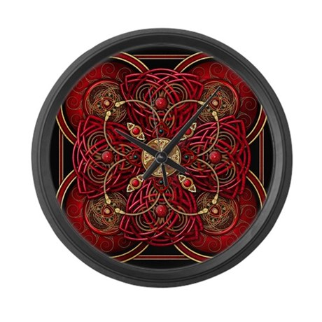 Red Celtic Tapestry Large Wall Clock