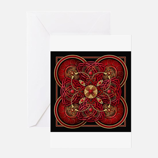 Red Celtic Tapestry Greeting Card