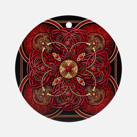 Red Celtic Tapestry Ornament (Round)