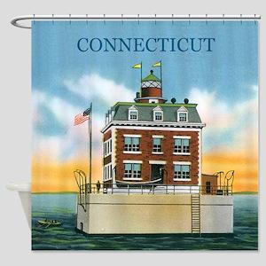Connecticut New London Ledge Light Shower Curtain