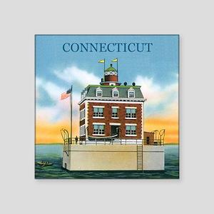 Connecticut New London Ledge Light Square Sticker