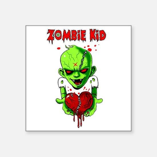 "Zombie Kid Square Sticker 3"" x 3"""