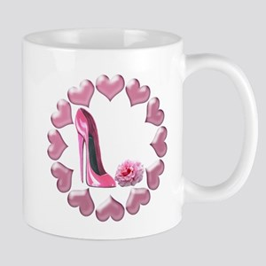 Pink High Heel Stiletto, Rose and Hearts Mug