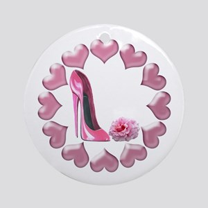 Pink High Heel Stiletto, Rose and Hearts Ornament