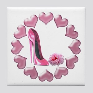 Pink High Heel Stiletto, Rose and Hearts Tile Coas