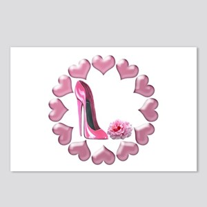Pink High Heel Stiletto, Rose and Hearts Postcards