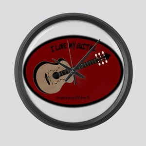 I LOVE MY GUITAR Large Wall Clock