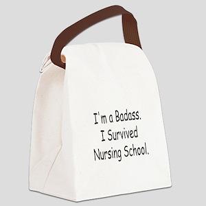 Badass Survives Nursing School Canvas Lunch Bag