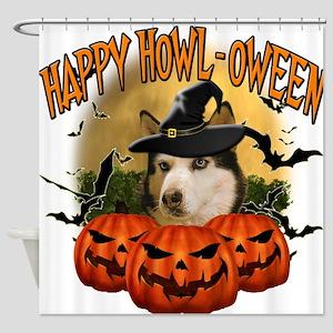 Happy Halloween Husky.png Shower Curtain