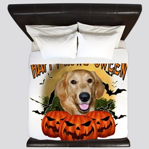 Happy Halloween Golden Retriever King Duvet