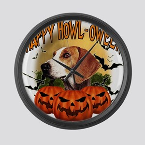 Happy Halloween Foxhound Large Wall Clock
