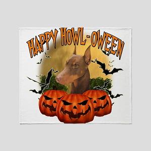 Happy Halloween Doberman Throw Blanket