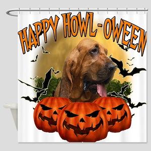 Happy Halloween Bloodhound.png Shower Curtain