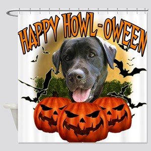 Happy Halloween Black Lab.png Shower Curtain