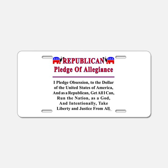 Republican Pledge Aluminum License Plate
