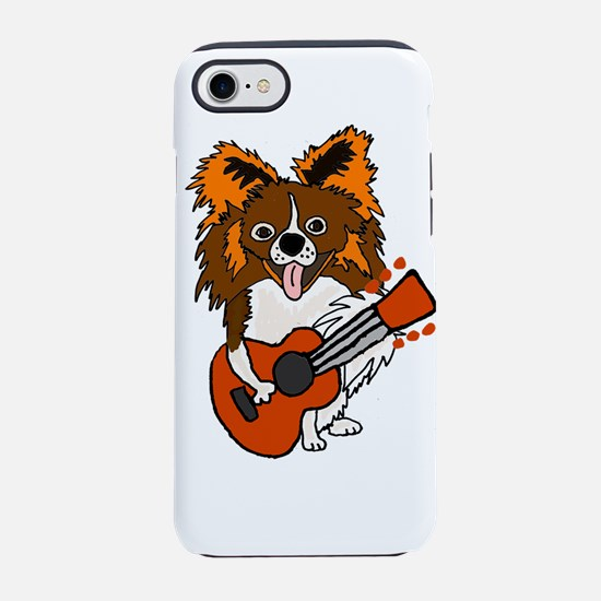 Funny Papillon Dog Playing Gui iPhone 7 Tough Case