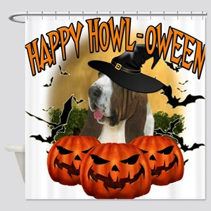 Happy Halloween Bassett Hound.png Shower Curtain