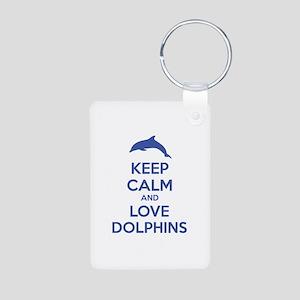 Keep calm and love dolphins Aluminum Photo Keychai