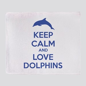Keep calm and love dolphins Throw Blanket