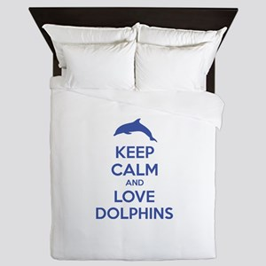 Keep calm and love dolphins Queen Duvet