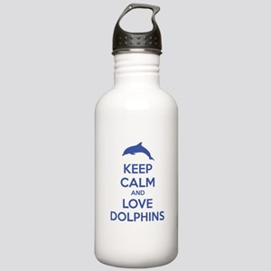 Keep calm and love dolphins Stainless Water Bottle
