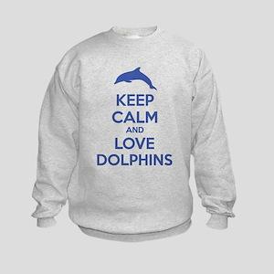 Keep calm and love dolphins Kids Sweatshirt