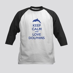 Keep calm and love dolphins Kids Baseball Jersey