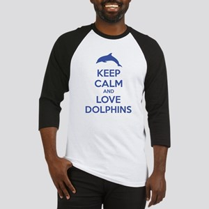 Keep calm and love dolphins Baseball Jersey