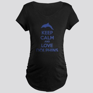 Keep calm and love dolphins Maternity Dark T-Shirt