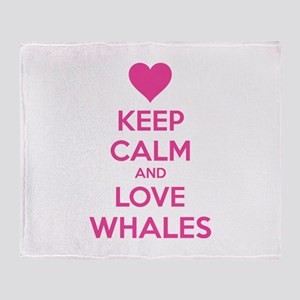 Keep calm and love whales Throw Blanket