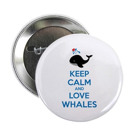 """Keep calm and love whales 2.25"""" Button (100 pack)"""